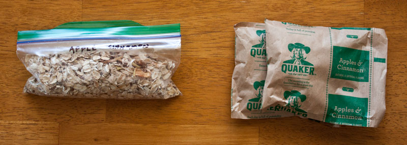 oatmeal packet size comparision